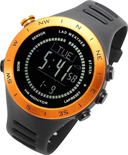 [ラドウェザー]ランニングウォッチ 心拍計 USB充電 速度計 歩数計 気圧計 高度計 コンパス アウトドア腕時計 スポーツ時計 (ブラック(反転液晶)) (オレンジ(反転液晶))