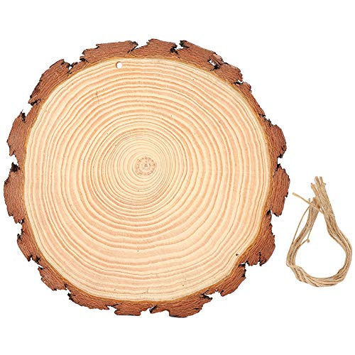 Natural Wood Slice Double Side Polishing Unfinished Wood Circles Discs, 20 to 25cm in Diameter, with 10Pcs Hemp Ropes