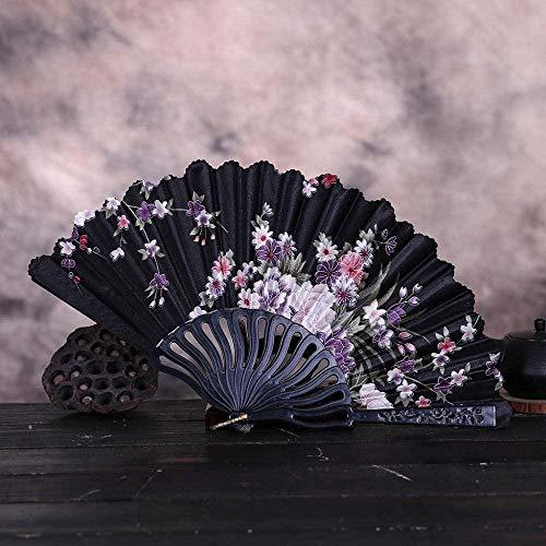 Opvouwbare ventilator,mode Vintage Kant Chinese Stijl Dans Bruiloft Handfans Feestjurk Accessoires Zwart Vouwbaar Zomer Held Flowers Fan