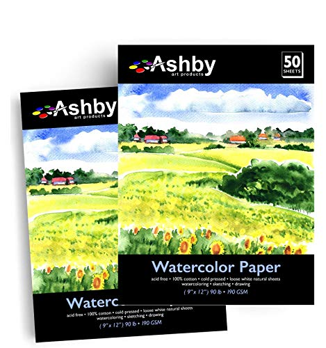 Ashby 100 Sheets of Practice Watercolor Paper (9' x 12') - 190 GSM, Acid-Free and Cold Pressed. Perfect for Painting or Drawing. Wet, Dry and Mixed Media. Bulk Pack