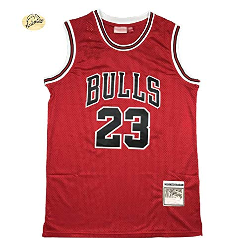 Camiseta deportiva de malla de poliéster estilo retro de los Jordans de los Bulls para hombre, color rojo y M
