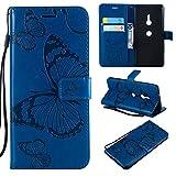 Aralinda Étui pour Sony Xperia XZ3 - En cuir synthétique - Avec dragonne - Motif papillon et...