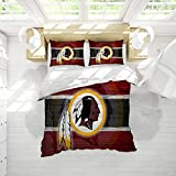 Washi-ngton Red-Skins Microfiber Duvet Cover Set Queen Size American Football Decor Duvet Cover Easy Care Bedding Cover Soft Comfy Breathable Fade