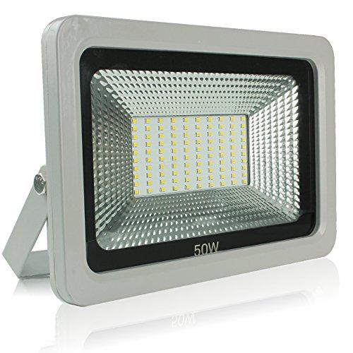 YOSION Extérieur & Intérieur 50W IP65 Imperméable SMD LED Projecteurs en Blanc Froid (6000-6500K)