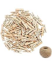 100Pcs Pinzas de Madera, Ouinne 35MM Pinzas Contactos de Madera con 50M Natural Yute Cordel de Cáñamo Cuerda de Bricolaje