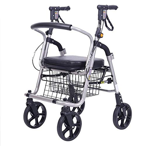 Rollatoren der 4 Rad fahrbarer Walker mit sitzender wasserdichter Einkaufstasche verstellbar Rrmrest Höhe Einkaufswagen Einkaufswagen für ältere Personen mit eingeschränkter Mobilität 38×56×95cm