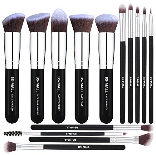 BS-MALL - Pinceles de maquillaje premium, 14 unidades, base sintética, polvos correctores, sombra de ojos de color plateado, negro, conjuntos de pinceles de maquillaje