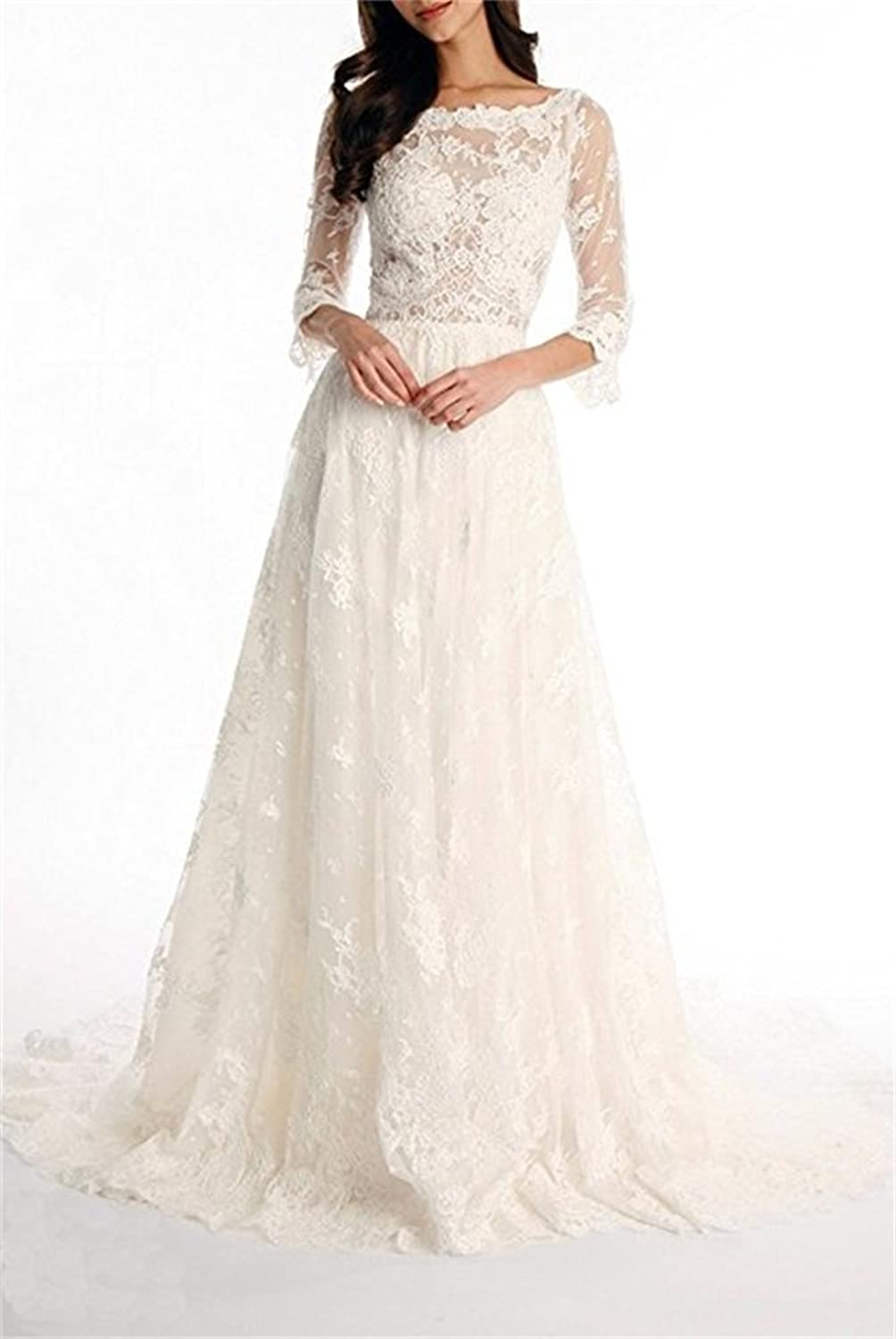 Ellystar Women's Luxury ALine Lace 3 4 Sleeve Zipper Bateau Wedding Dresses