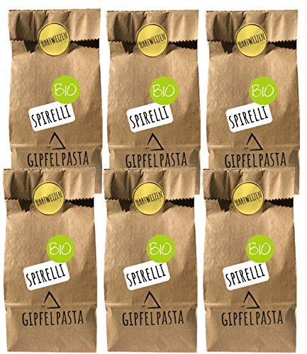 Gipfelpasta Bio Hartweizen Nudeln Spirelli handgemacht 6er Pack (6x250g)