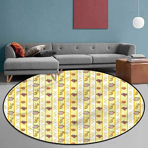 Pearls Polyester Pattern Rugs Cozy Color Contemporary Soft Rug Zigzag Chevron Lines 5'6' in Diameter