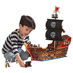 Cannon lights up and makes sounds Sail with skull graphic Includes three bendy pirate figures Rope ladder leads to crow's nest Treasure chest lights up Wooden pirate ship Packaged with detailed, step-by-step instructions