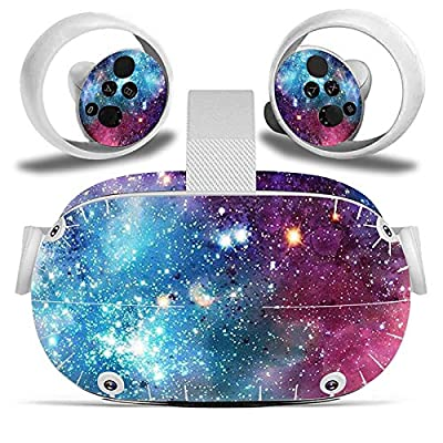 Oculus Quest VR 2 Headset and Controller Sticker, Vinyl Decal Skin for VR Headset and Controller, Virtual Reality Protective Accessories - Starry Galaxy