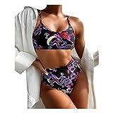 Dos Piezas Dividida Traje de Baño para Mujer Sexy Impresión de dragón Bikini Sets Push Up BañAdores Tops con Talle Alto Braguitas Bañadores Establece