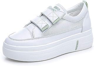Zapatillas de Deporte de Plataforma para Mujer Moda de Malla Transpirable Costura Correa de Cuero de Cuero Zapatos de Punt...