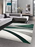 CARPETIA Alfombra Moderna Alfombra salón diseño a Ola Verde Gris Größe 80x150 cm
