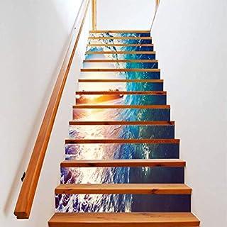 Adhesivo De Escalera DIY Azul Grande Ola 3D Imagen Otoño Piso Decoración De La Pared Etiqueta