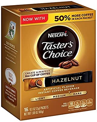 Nescafe Taster's Choice Instant Coffee Beverage, Hazelnut, 0.1 Ounce,16 Count,(Pack of 8) (Hazelnut toasty,Packs of 8 16 Count)
