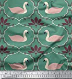Soimoi Green Heavy Canvas Stoff Swan & Marokkanischer
