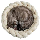 HAC Pet Supplies Cream Chunky Cat Bed,18inch Handmade Knit House,Crocheted Cat Bed,Cat Cave,Cat House,Chunky Crochet Cat Bed,Cat Kitty House,Knit Cat Bedding,Chunky Cat Cave