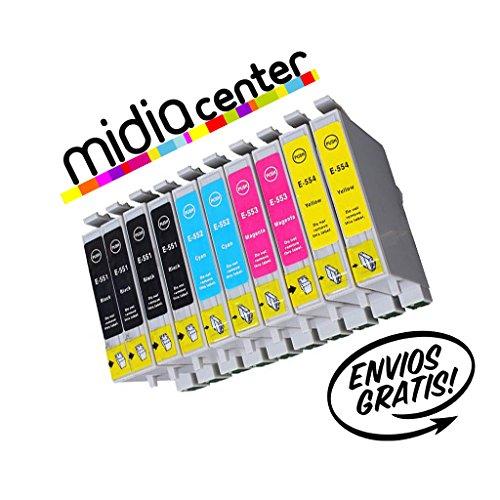 MIDIACENTER - 10 Cartuchos de tinta T0555 (T0551 T0552 T0553 T0554) compatibles para Epson Stylus Photo R240, Stylus Photo R245, Stylus Photo RX425, Stylus Photo RX520