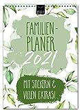 A4 Familienplaner 2021 kompakt – FLORAL   5 Spalten   Wandkalender: 21x29,7cm   Familienkalender in schönem Blumen-Design   Extras: 228 Sticker, Ferien, Jahreskalender, Vorschau bis März 2022