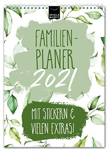 A4 Familienplaner 2021 kompakt – FLORAL | 5 Spalten | Wandkalender: 21x29,7cm | Familienkalender in schönem Blumen-Design | Extras: 228 Sticker, Ferien, Jahreskalender, Vorschau bis März 2022