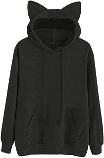 Hoodie Women Long Sleeve Sweatshirt Cat Ear Hooded Pullover Sports Tops
