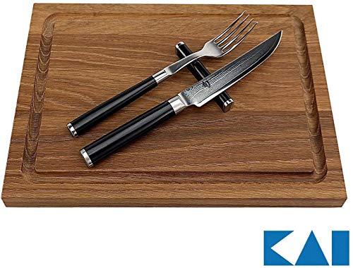 Kai Exklusives 3-TLG. Besteckset DM-0907 Shun Besteckset I DM-0907 I– Gabel, Messer & Besteckbänckchen I +Schneidebrett aus Eiche 30x22 cm | VK: 259,- €
