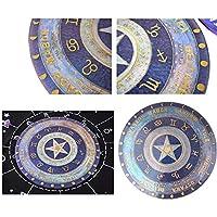 丸い占星術ボードシリコンモールド、実用的な再利用可能なエポキシ装飾コンステレーションコンパスタロットカードディビネーショントレイ樹脂工芸品フェイクアゲートトレイサービングボードフルーツトレイの家の装飾