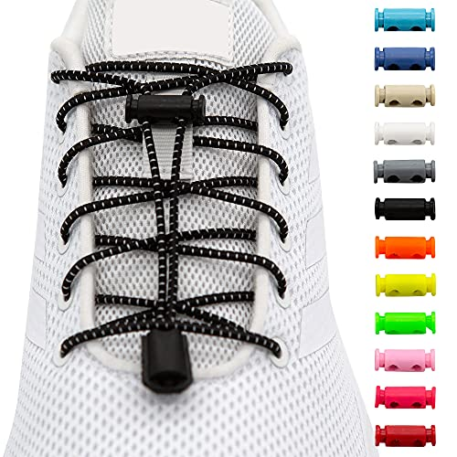 BENMAX SPORTS Schnürsenkel ohne Binden - Elastische Gummi Schuhbänder, Elastisch Schnellverschluss Elastic Shoelaces, Kinder Schuhe Zubehör, 1 Paar - 120 cm - 12 Bunte Farben (Schwarz, 1 Paar)