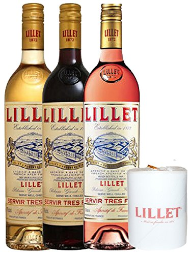 Lillet Mischset Je 1 x Blanc, Rose, Rouge Weinaperitif Frankreich und Lillet Lampionkerze 1 Stück