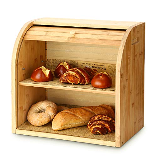 Bread Box, G.a HOMEFAVOR 2 Layer Bamboo Bread Boxes for Kitchen Food Storage, Large Capacity Bread Keeper Roll Top with Removable Layer, 15' x 9.8' x 14.2', 15 mm Thickness (Self-assembly)