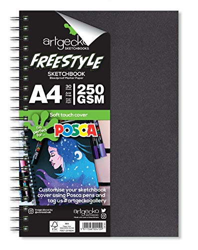 Artgecko Freestyle Skizzenbuch, A4 Hochformat, 60 Seiten (30 Blatt), einzigartiges 250 g/m², säurefrei, glattes helles weißes Hybrid-Papier