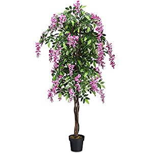 Goplus 6FT Fake Wisteria Tree Artificial Greenery Plants in Nursery Pot Decorative Trees for Home, Office, Lobby