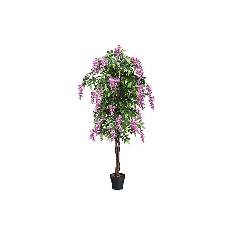 silk flower arrangements goplus 6ft fake wisteria tree artificial greenery plants in nursery pot decorative trees for home, office, lobby