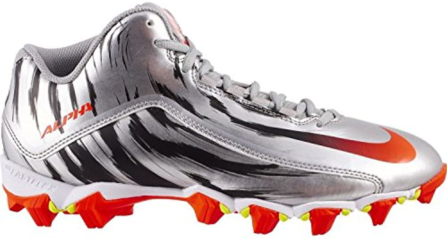 Nike New Alpha Shark 2 Mid LE Football Cleats Silver Red - Choose Your Size