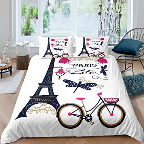 Tbrand Eiffel Tower Duvet Cover Set Chic Paris Theme Bedding Set for Kids Boys Girls Paris Cityscape Printed Comforter Cover Modern French Style Quilt Cover Decor Bedroom Collection 2Pcs Single Size