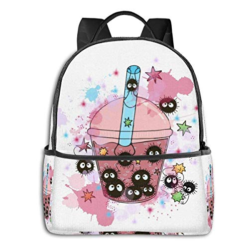 IUBBKI Mochila lateral negra Mochilas informales Watercolor Boba Soot Sprites Student School Bag School Cycling Leisure Travel Camping Outdoor Backpack
