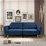 Merax Sofa Bed, Velvet Upholstered Modern Convertible Folding Futon Lounge Couch for Living Space, Apartment, and Dorm, Blue