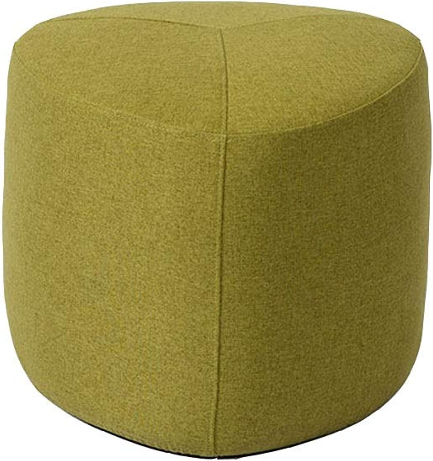 Footstools Pouf Upholstered Footrest Green Yellow Removable Linen Cover Pouffe Chair Foot Stool for Living Room   Bedroom (Size   45cm45cm38cm)