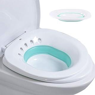 NANANA Sitz Baño para Hemorroides Herramientas de Limpieza, Plegable Baño de Asiento, Desagüe sobre el Inodoro Baño Perineal, Pacientes con Postepisiotomía, 39x36x12 cm,Blue