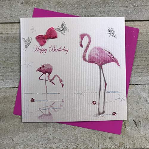 Wit Katoen Kaarten Flamingos Gelukkig Handgemaakte Verjaardagskaart, BD81