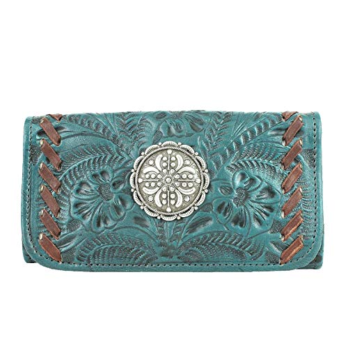 American West Lariats & Lace Leather Tri-Fold Wallet (Dark Turquoise (7316282))