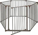 Crown Pet Products Convertible Pet Yard & Gate with Extra Wide Door/Indoor Outdoor Dog Exercise Playpen, Dark Bronze/Brown