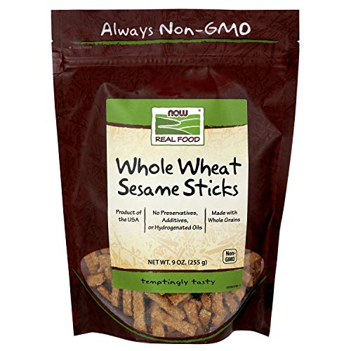 NOW Foods, Whole Wheat Sesame Sticks, Product of the USA, No Preservatives, Additives or Hydrogenated Oils, Certified Non-GMO, 9-Ounce