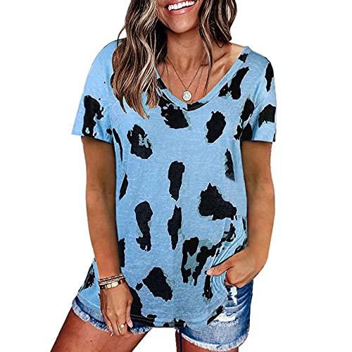 Camiseta Holgada de Manga Corta con Estampado de Leopardo para Mujer
