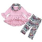 Toddler Kids Baby Girls Christmas Ruffle Dress Cartoon Trees Print+Bib Outfits
