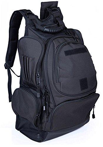 Tanner+Tailor Premium Herren Outdoor Rucksack mit Laptop-, Trinkblase- und Musikplayer-Fach, Militär Rucksack, Trekkingrucksack, Wanderrucksack, wasserdicht, Schwarz