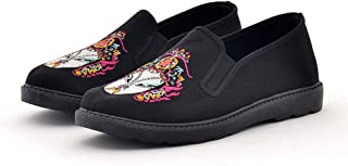 Men Slip on Yacht Shoes Soft Sole Espadrilles with Traditional Chinese Embroidery Patterns (Color : Pink, Size : AU 6.5)