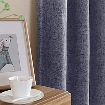 Vangao Linen Blackout Curtains 63 inches Long Gray Linen Textured Drapes Room Darkening for Living Room Bedroom Window Treatment 1 Panels,Grommet Top,Grey